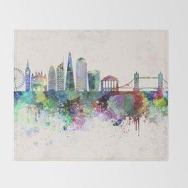 London V2 skyline in watercolor background Throw Blanket