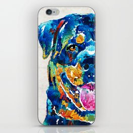 Colorful Rottie Art - Rottweiler by Sharon Cummings iPhone Skin