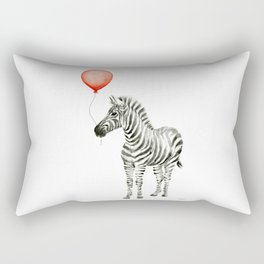 Baby Zebra with Red Balloon Rectangular Pillow