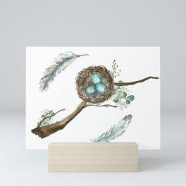 Nest Eggs and Feathers Mini Art Print