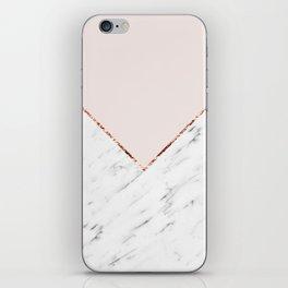 Peony blush geometric marble iPhone Skin