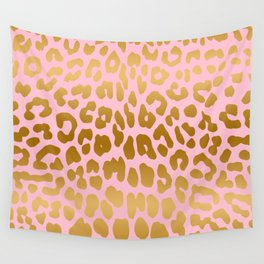 Leopard (Pink & Gold) Wall Tapestry