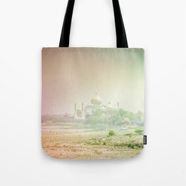 Colors of Dreamy Taj Mahal in the Morning Mist Behind the Yamuna River Tote Bag