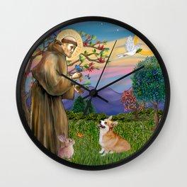 Saint Francis Welsh Corgi (Pembroke) Wall Clock