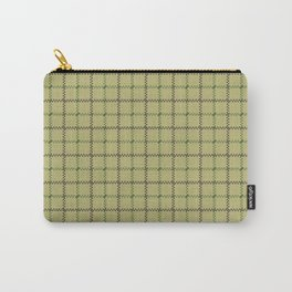 Fern Green & Sludge Grey Tattersall on Wheat Beige Background Carry-All Pouch