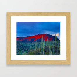 Green Cactus Field In The Desert With Red Mountains Blue Grey Sky Landscape Photography Framed Art Print