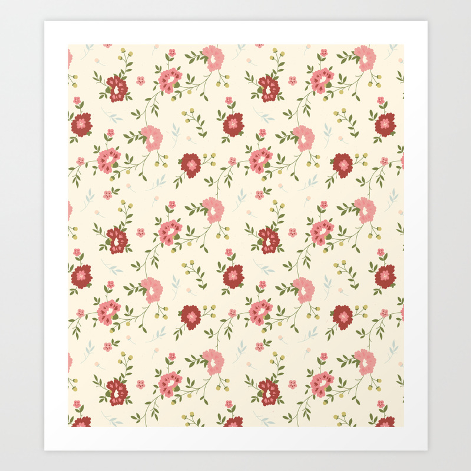 Vintage Spring Floral Background Art Print By Drawfine Society6