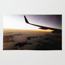 Airplane Wing Window Seat View of Horizon at Dusk Rug
