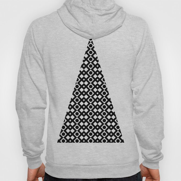 Black & White Geometric Design - Diamonds Circles Squares Hoody