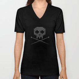 Knitted Skull (White on Grey) Unisex V-Neck