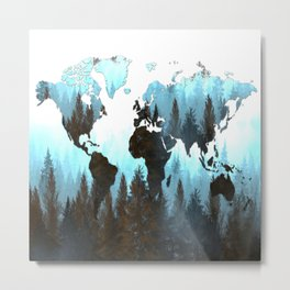 world map forest Metal Print