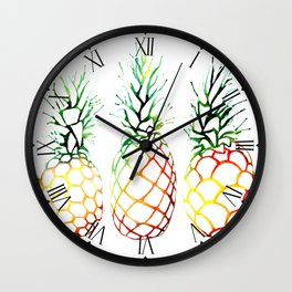 Retro Pineapples Wall Clock