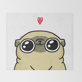 Mochi the pug loves you Throw Blanket