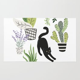 Black cat and plants in the pots. Morning stretch Rug