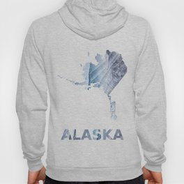 Alaska map outline Light steel blue clouded wash drawing Hoody
