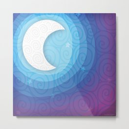 Good Night // Night Time Moon Metal Print