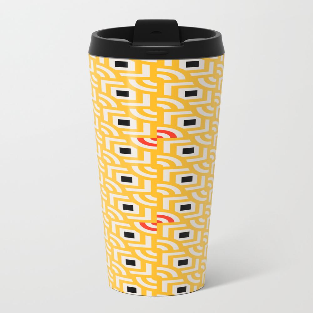 Round Pegs Square Pegs Yellow Metal Travel Mug by Silverpegasus MTM8870444