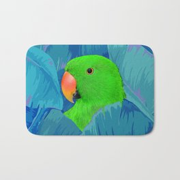 Parrot with banana leaves Bath Mat