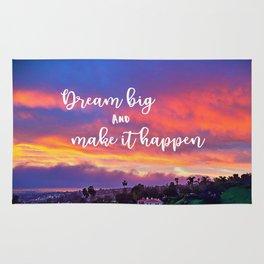 """Dream big & make it happen"" quote pink, yellow & blue sunrise photo Rug"