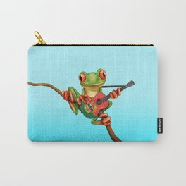 Tree Frog Playing Acoustic Guitar with Flag of Portugal Carry-All Pouch
