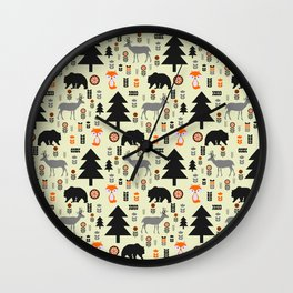 Winter bears, foxes and deer Wall Clock