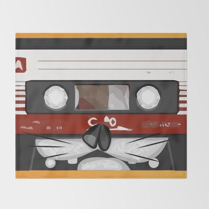 The cassette tape cat Throw Blanket