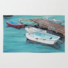 Dinghy Boats Ocean Dock Blue Sea Rug