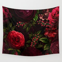 Mystical Night Roses Wall Tapestry