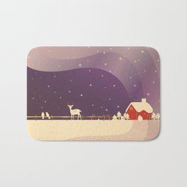 Peaceful Snowy Christmas (Plum Purple) Bath Mat
