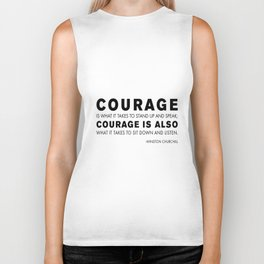 Courage quote - Winston Churchill Biker Tank