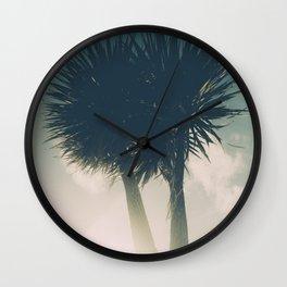 Sun blasted Palm trees Wall Clock
