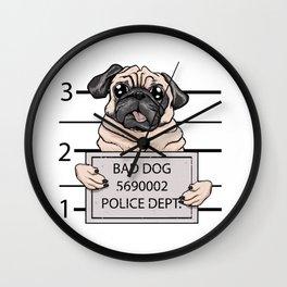 mugshot dog cartoon. Wall Clock