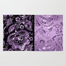 Purple & Black Damask Pattern Rug