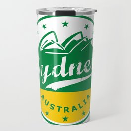Sydney City, Australia, circle, green yellow Travel Mug