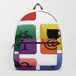 Tourist travel icon set Backpack