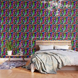 psychedelic splash painting abstract texture in pink blue green yellow red black Wallpaper