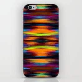 vintage psychedelic geometric abstract pattern in orange brown blue yellow iPhone Skin