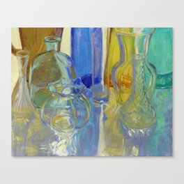 Colored Glass in Blue and Gold Canvas Print