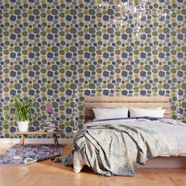 Abstract Circles in Mustard, Charcoal, and Navy Wallpaper