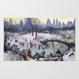 Vintage Central Park Skating Painting Rug