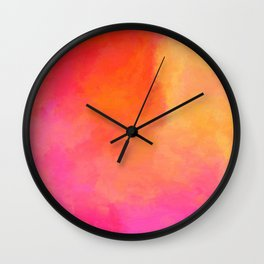 Texture orange kisses pink Wall Clock