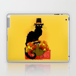 Thanksgiving Le Chat Noir With Turkey Pilgrim Laptop & iPad Skin