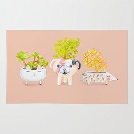 Kawaii dog cat hedgehog succulents Rug