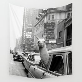 Llama Riding in Taxi, Black and White Vintage Print Wall Tapestry