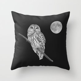 Owl, See the Moon (bw) Throw Pillow