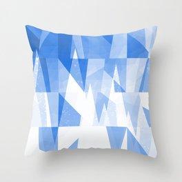 Abstract Blue Geometric Mountains Design Throw Pillow