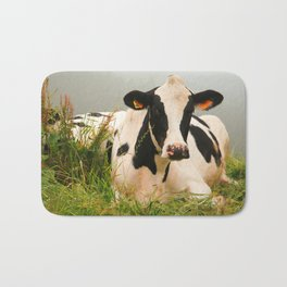 Holstein cow facing camera Bath Mat