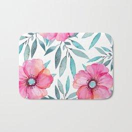 Pink Garden Flowers Bath Mat