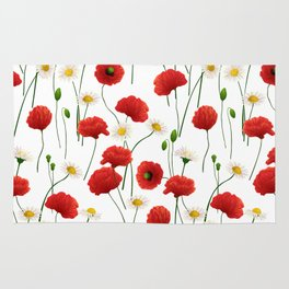 Poppies and daisies Rug