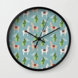 Cute Llamas Illustration Wall Clock